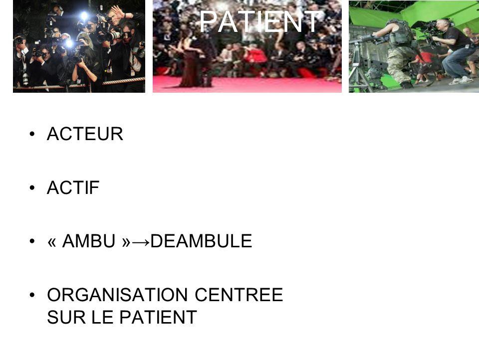 PATIENT PATIENT ACTEUR ACTIF « AMBU »→DEAMBULE