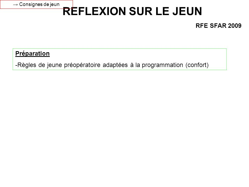REFLEXION SUR LE JEUN RFE SFAR 2009 Préparation