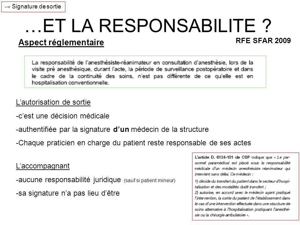 …ET LA RESPONSABILITE Aspect réglementaire RFE SFAR 2009