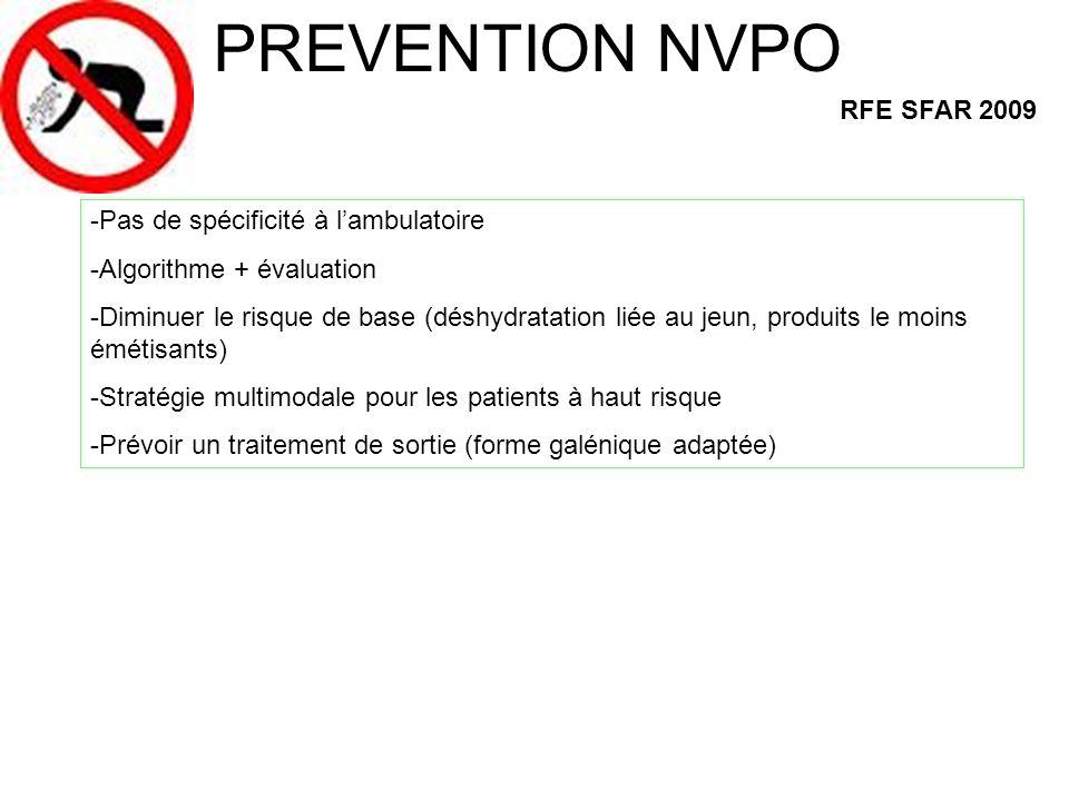 PREVENTION NVPO RFE SFAR 2009 -Pas de spécificité à l'ambulatoire