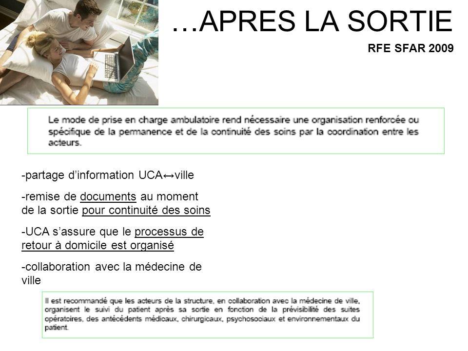 …APRES LA SORTIE RFE SFAR 2009 -partage d'information UCA↔ville