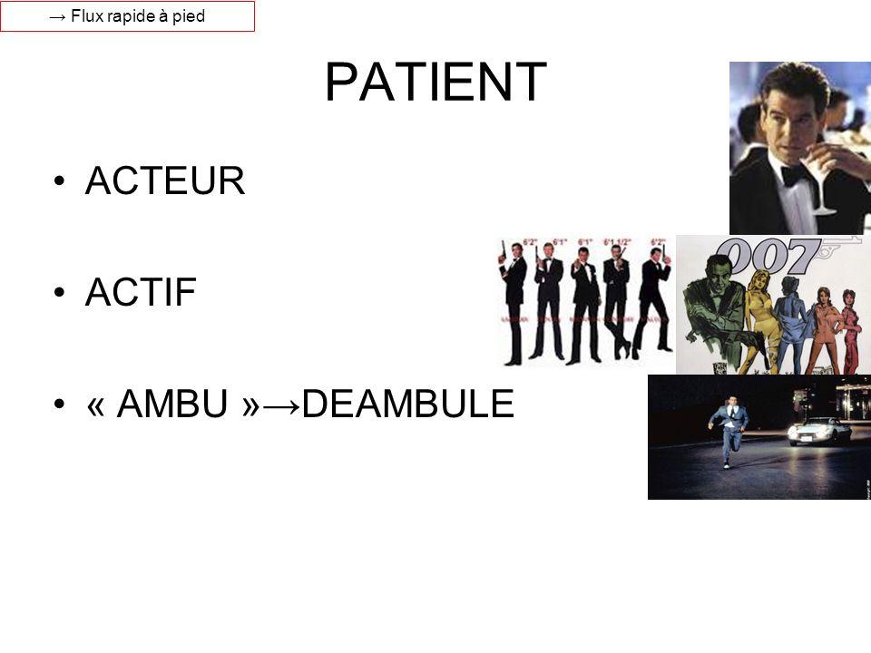 → Flux rapide à pied PATIENT ACTEUR ACTIF « AMBU »→DEAMBULE