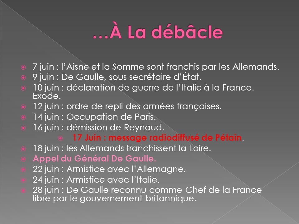 17 Juin : message radiodiffusé de Pétain.