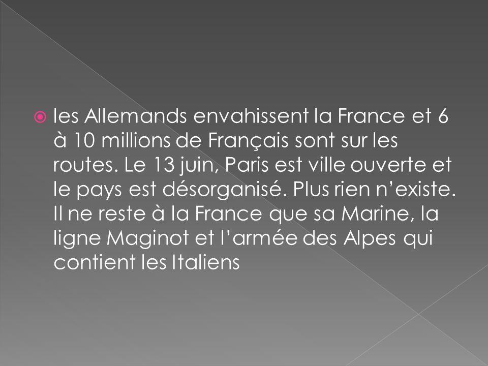 les Allemands envahissent la France et 6 à 10 millions de Français sont sur les routes.