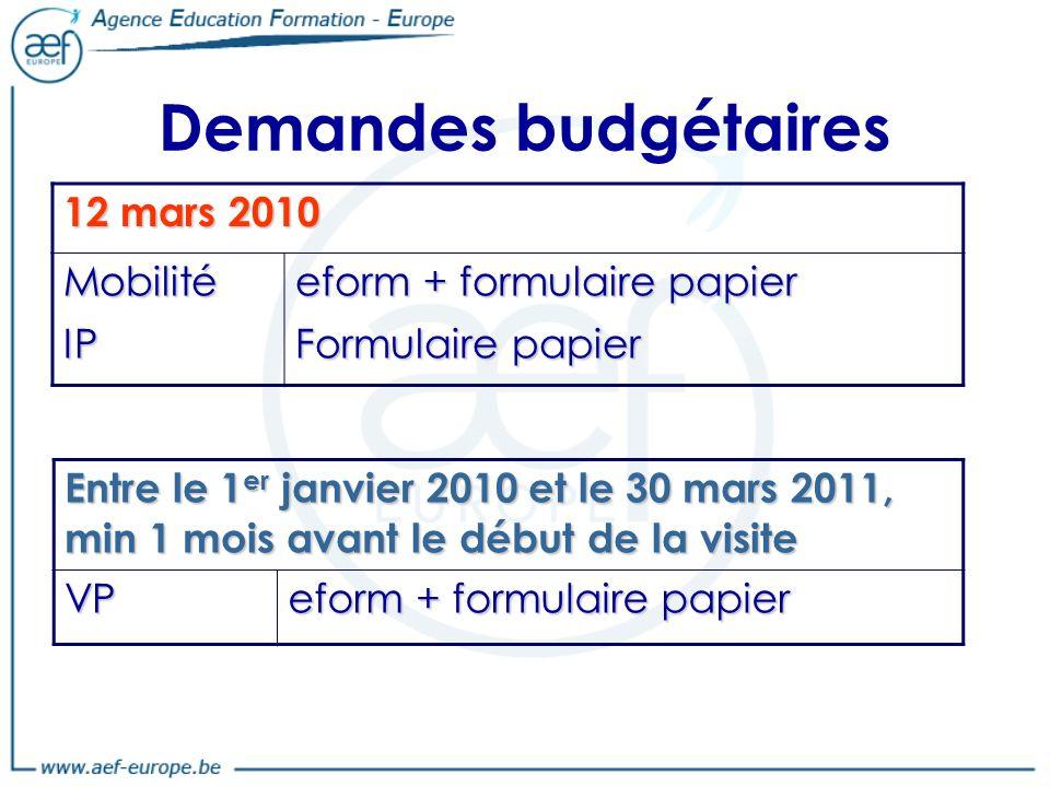 Demandes budgétaires 12 mars 2010 Mobilité IP