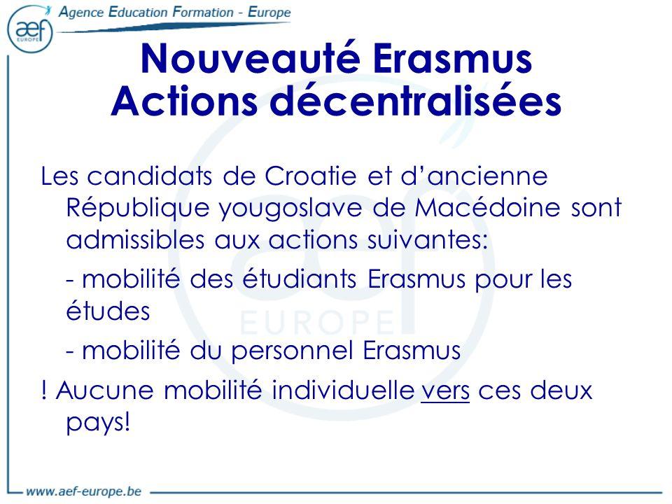 Nouveauté Erasmus Actions décentralisées