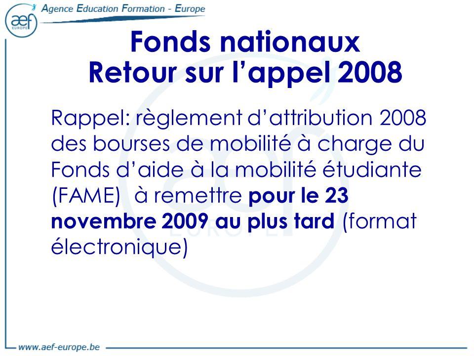 Fonds nationaux Retour sur l'appel 2008