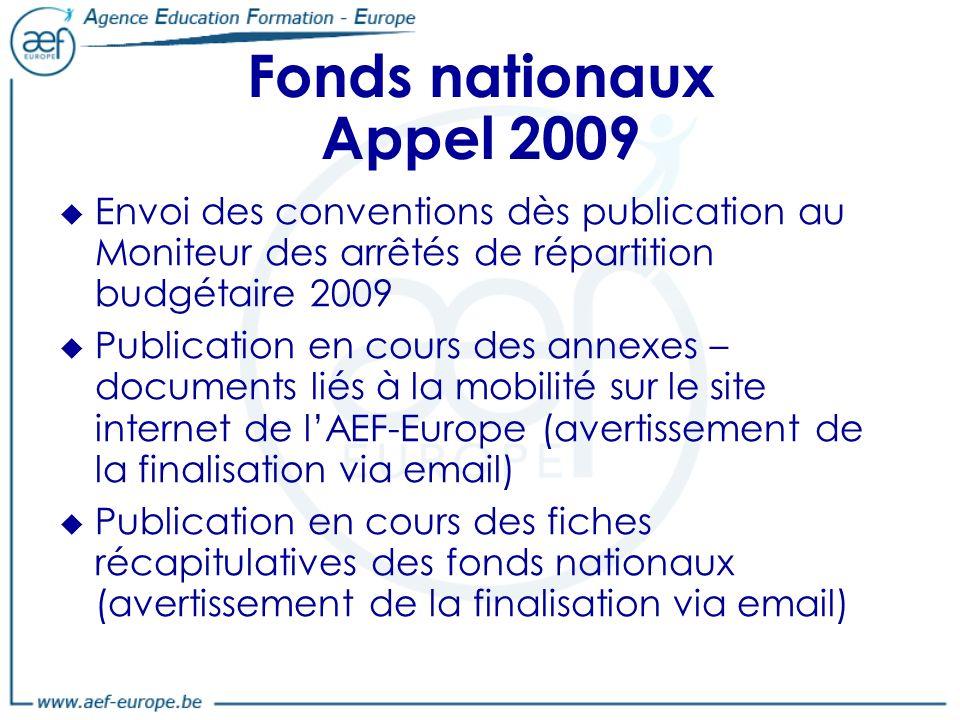 Fonds nationaux Appel 2009 Envoi des conventions dès publication au Moniteur des arrêtés de répartition budgétaire 2009.