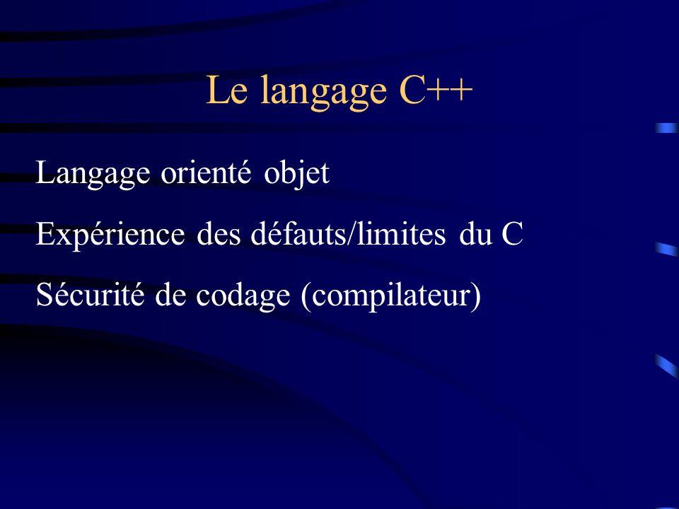 Le langage C++ Langage orienté objet