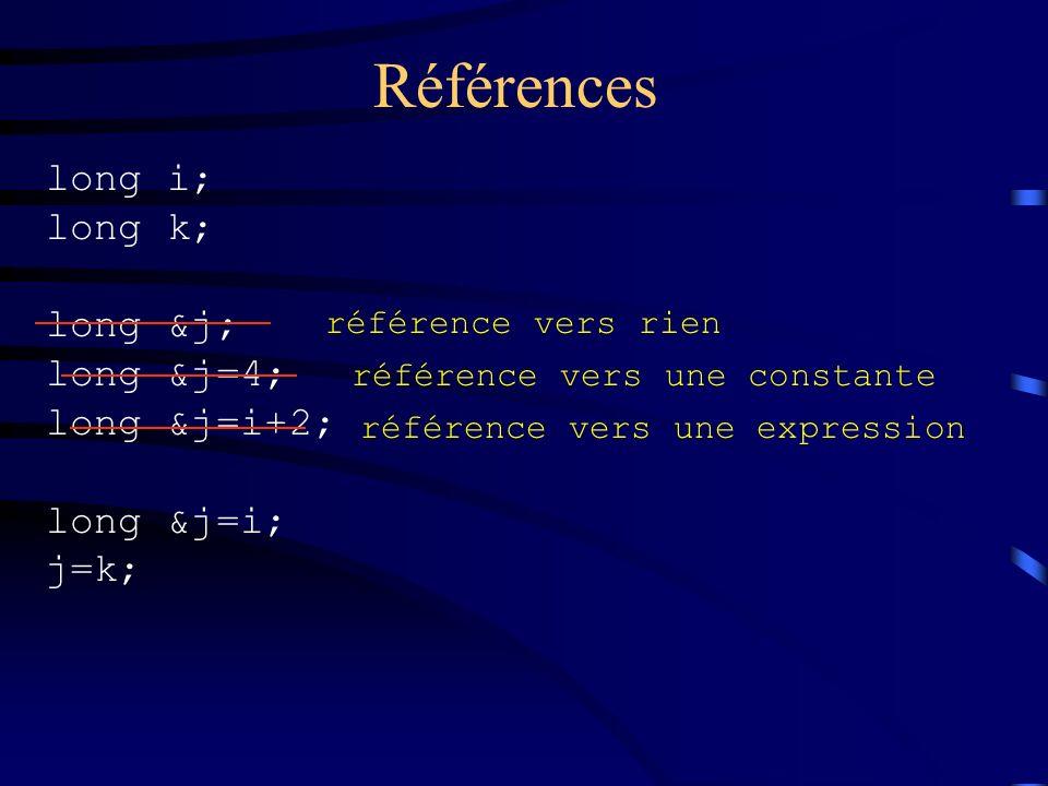 Références long i; long k; long &j; long &j=4; long &j=i+2; long &j=i;