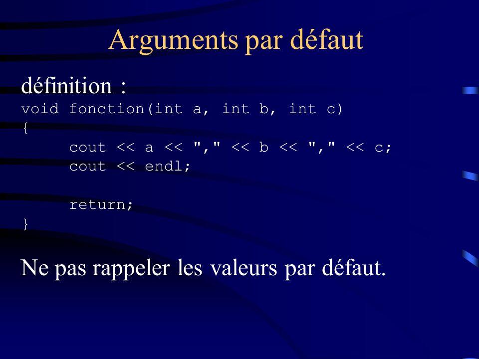 Arguments par défaut définition :