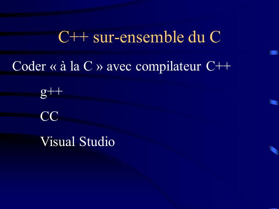 C++ sur-ensemble du C Coder « à la C » avec compilateur C++ g++ CC