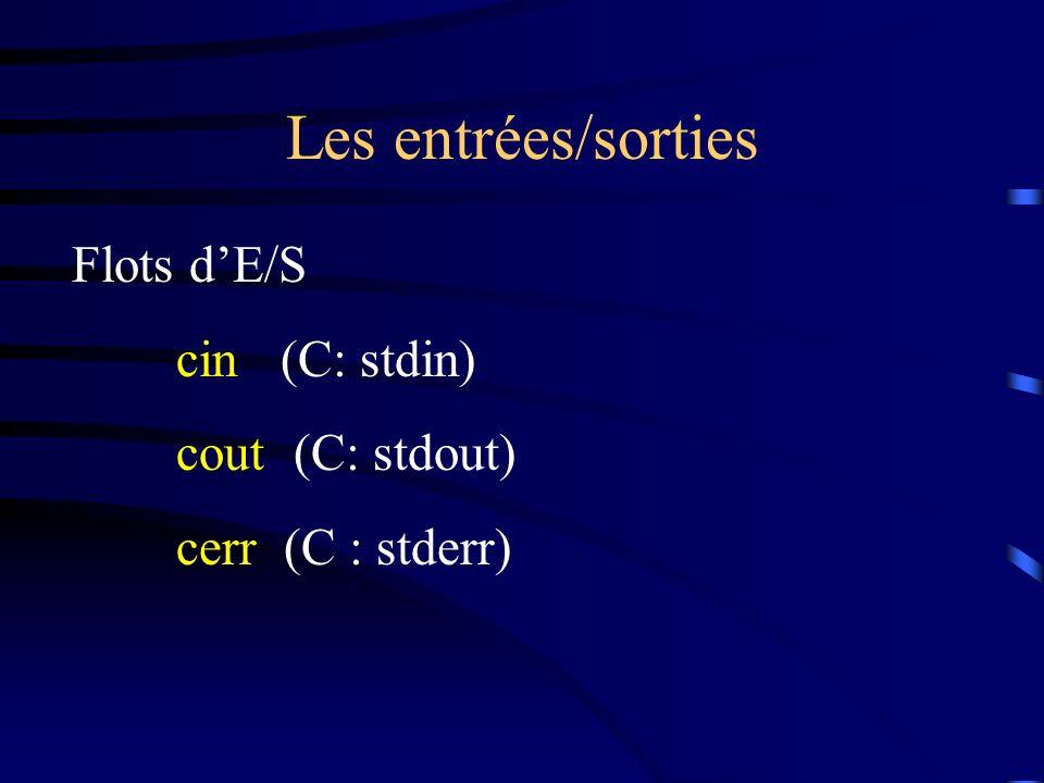 Les entrées/sorties Flots d'E/S cin (C: stdin) cout (C: stdout)