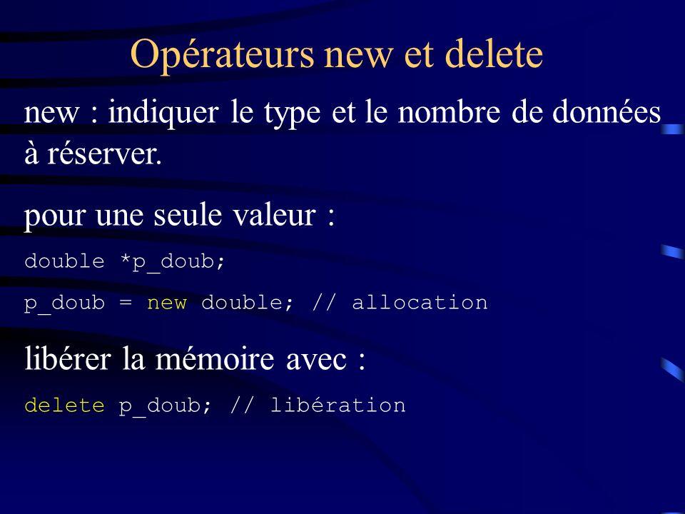 Opérateurs new et delete