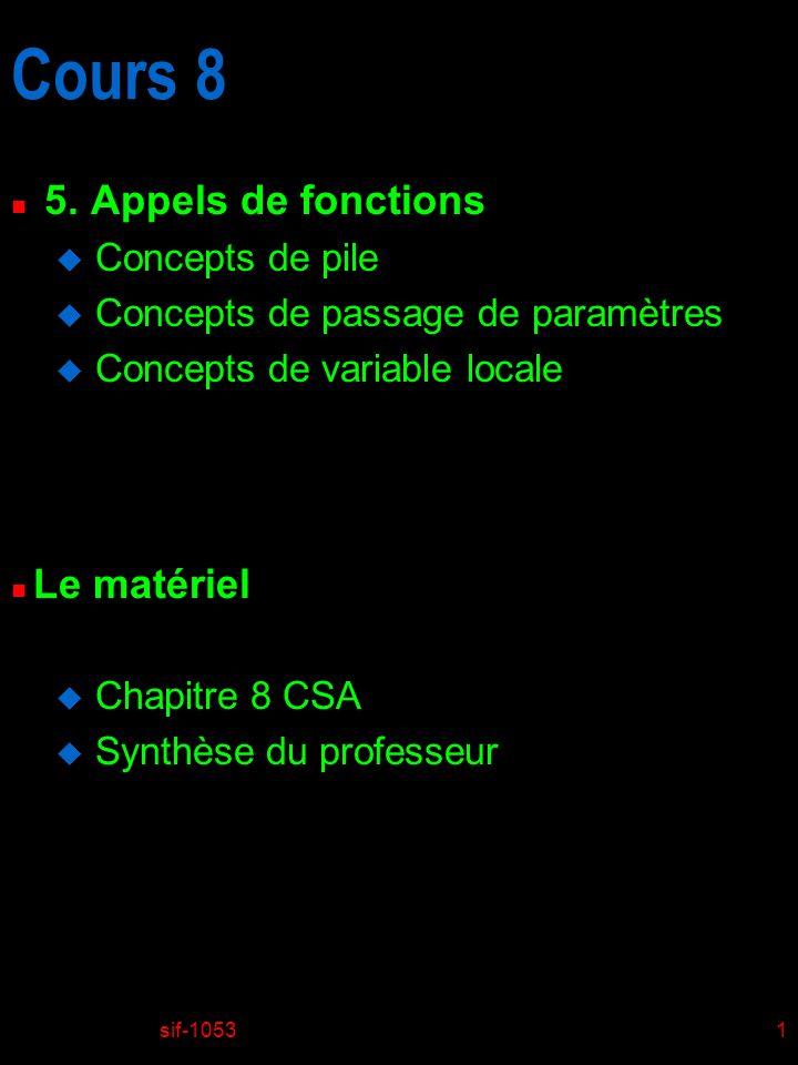 Cours 8 5. Appels de fonctions Le matériel Concepts de pile