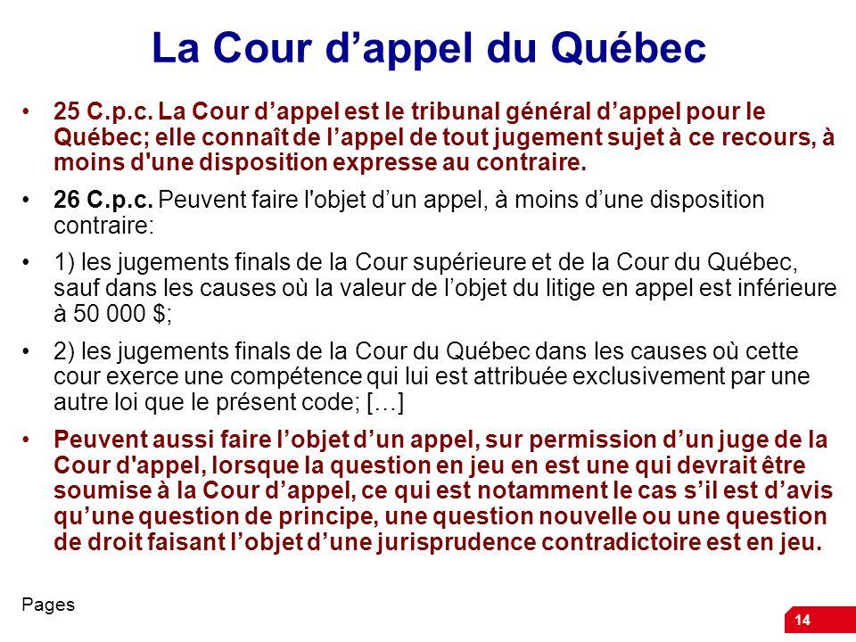 La Cour d'appel du Québec