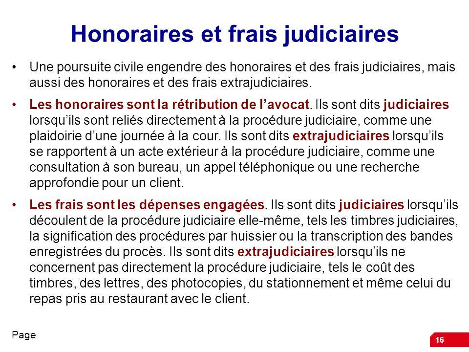 Honoraires et frais judiciaires