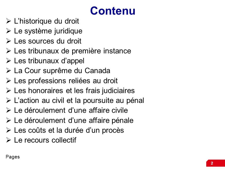 Contenu L'historique du droit Le système juridique