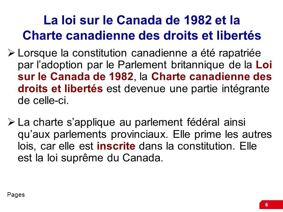 La loi sur le Canada de 1982 et la Charte canadienne des droits et libertés
