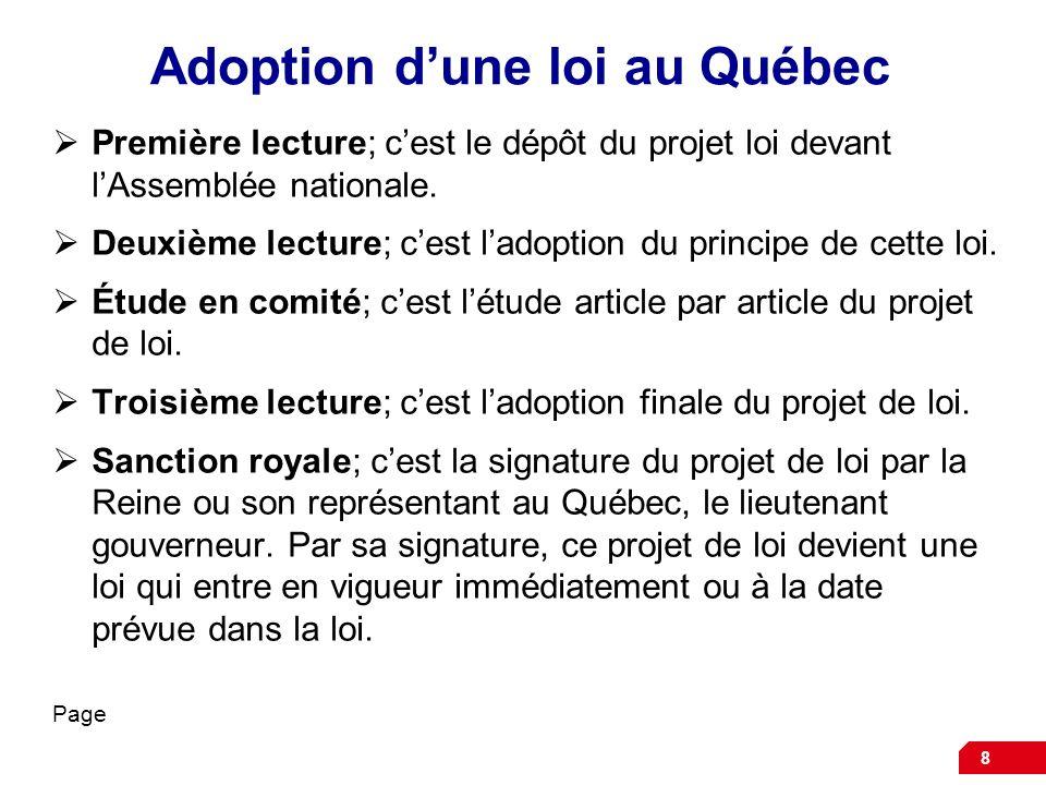 Adoption d'une loi au Québec