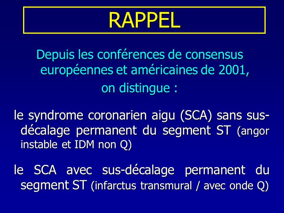 RAPPEL Depuis les conférences de consensus européennes et américaines de 2001, on distingue :