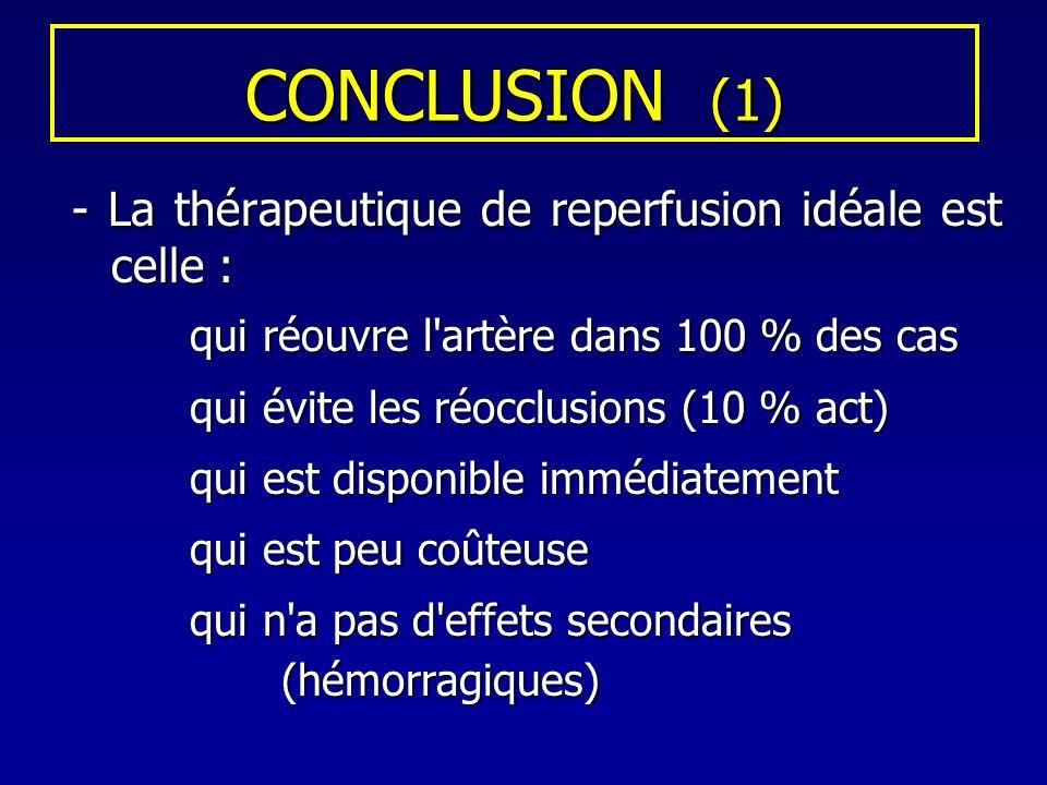 CONCLUSION (1) - La thérapeutique de reperfusion idéale est celle :