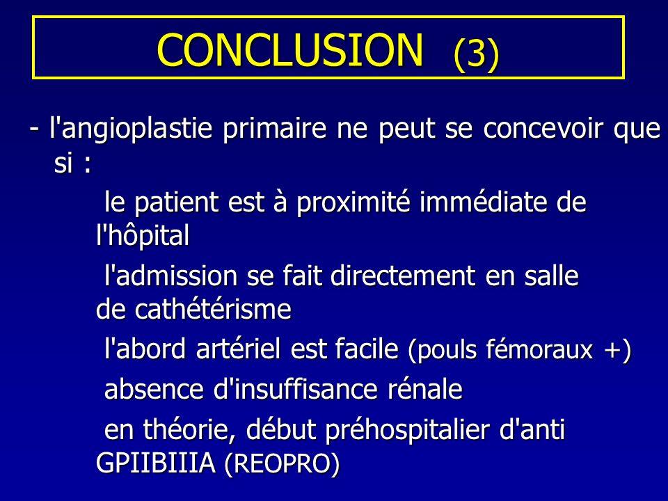 CONCLUSION (3) le patient est à proximité immédiate de l hôpital