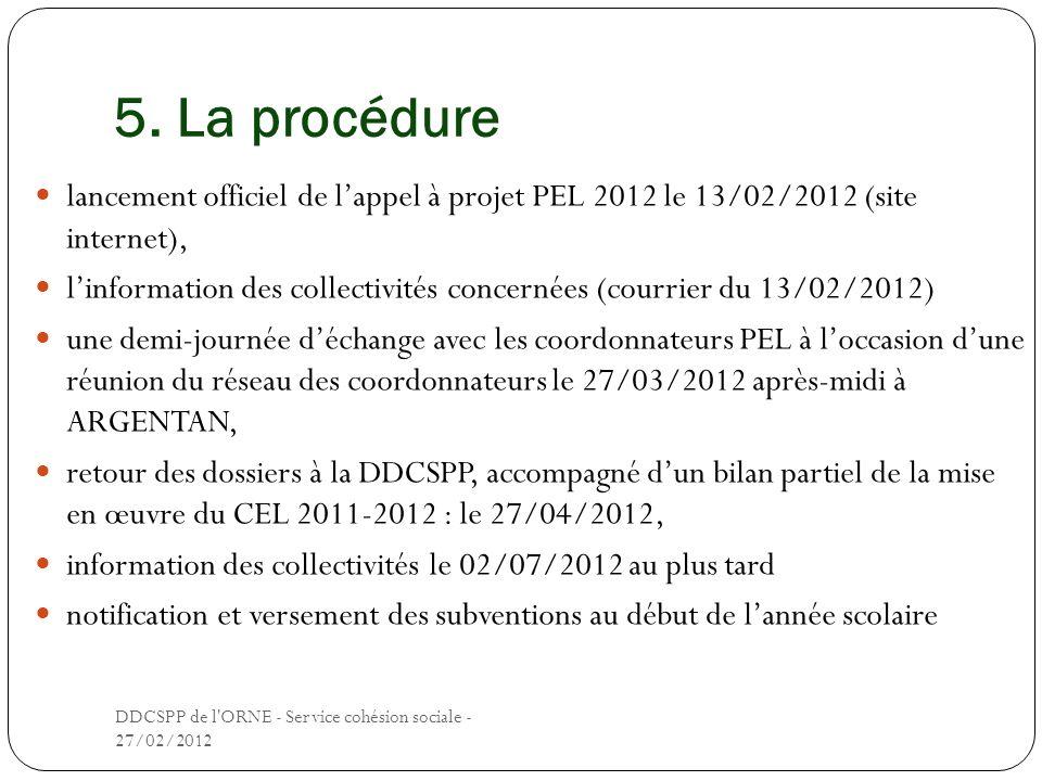 5. La procédure lancement officiel de l'appel à projet PEL 2012 le 13/02/2012 (site internet),
