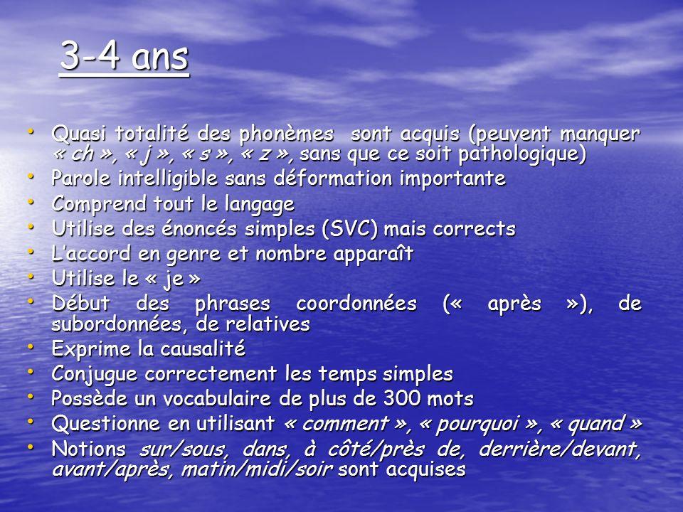 3-4 ans Quasi totalité des phonèmes sont acquis (peuvent manquer « ch », « j », « s », « z », sans que ce soit pathologique)