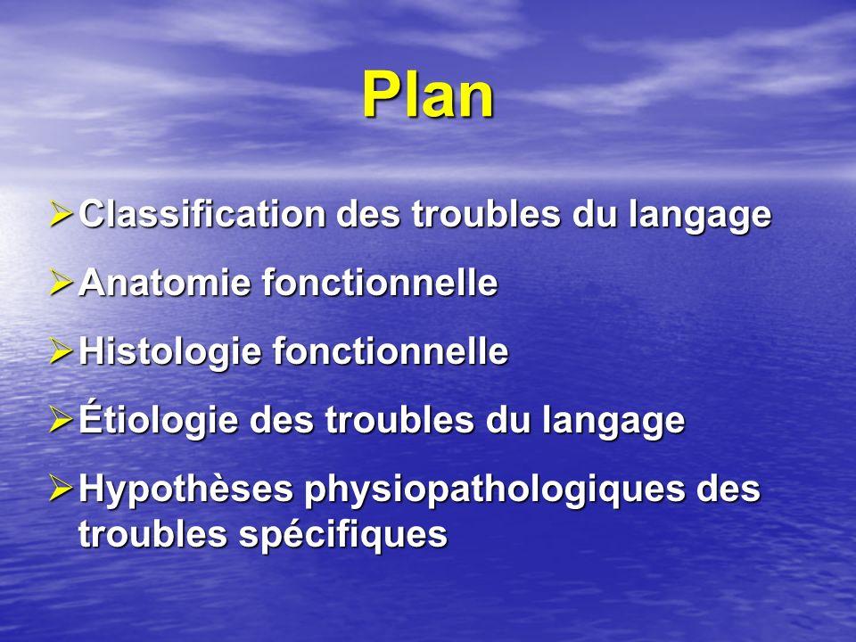 Plan Classification des troubles du langage Anatomie fonctionnelle