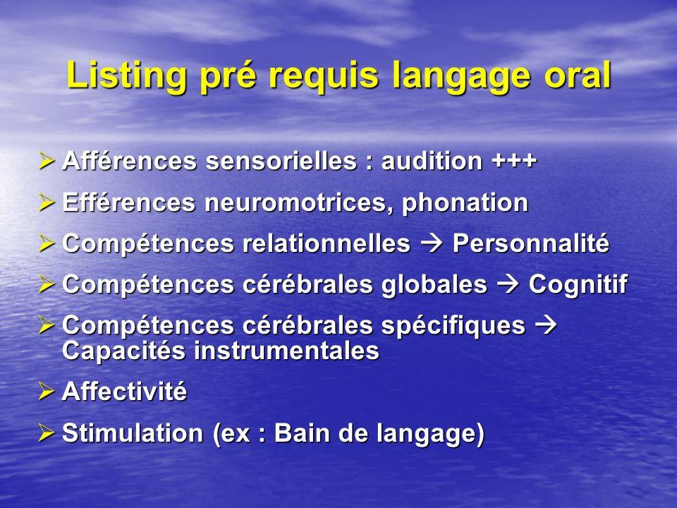 Listing pré requis langage oral