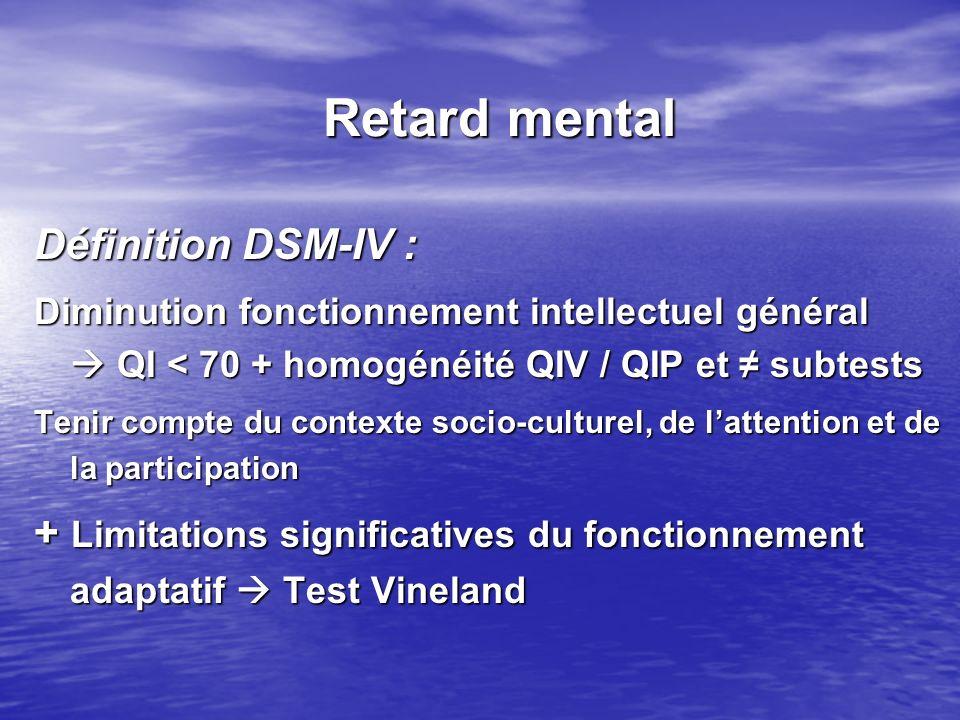 Retard mental Définition DSM-IV :