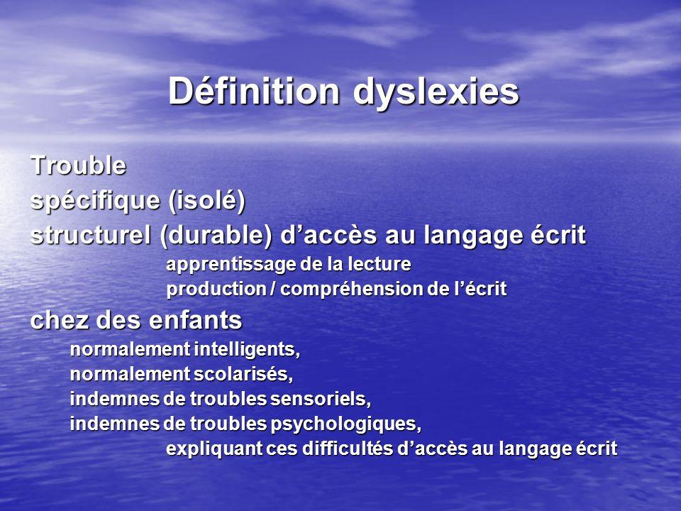 Définition dyslexies Trouble spécifique (isolé)