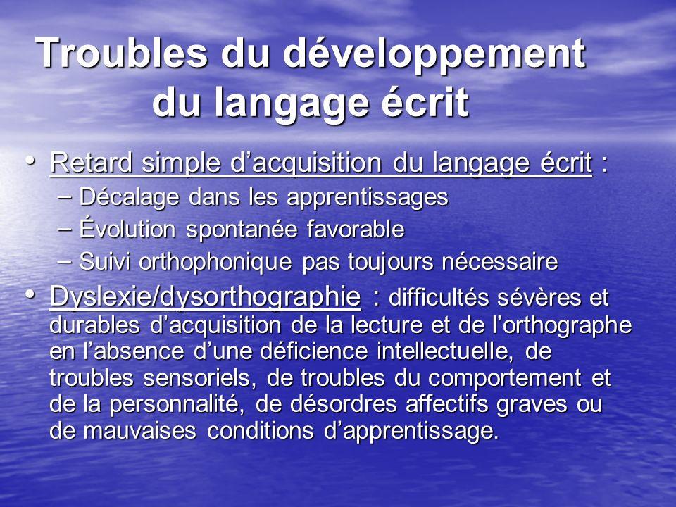 Troubles du développement du langage écrit
