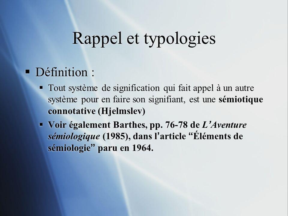 Rappel et typologies Définition :