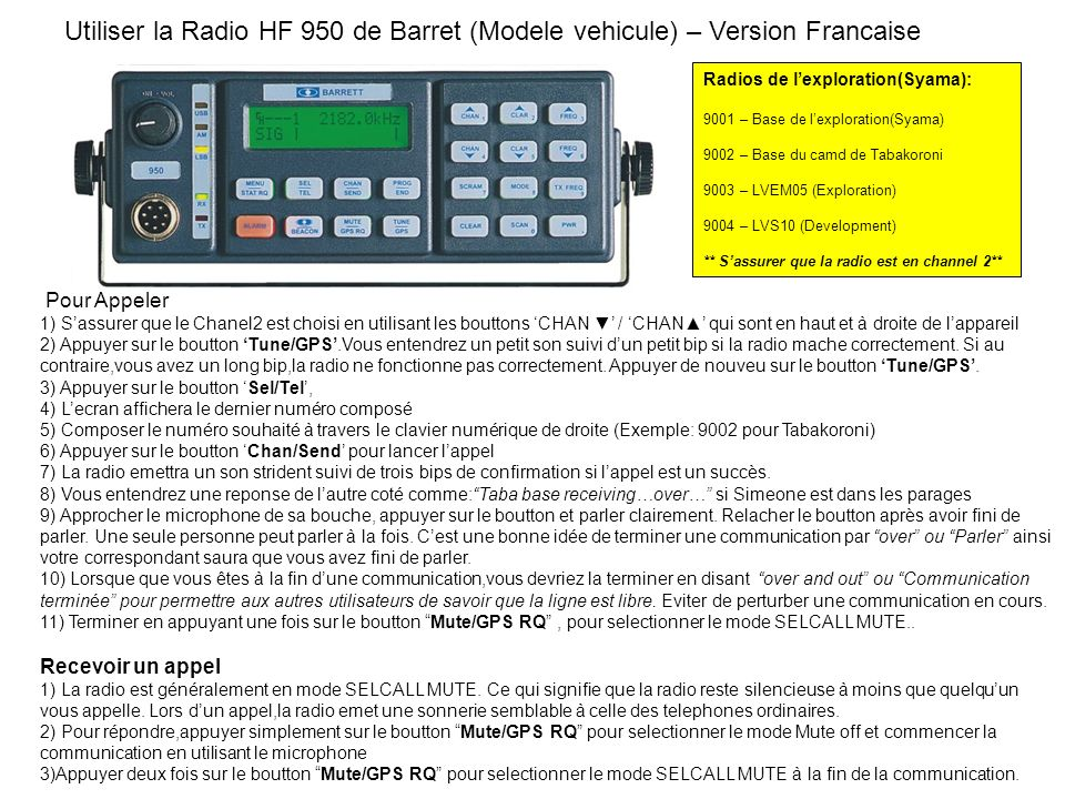 Utiliser la Radio HF 950 de Barret (Modele vehicule) – Version Francaise