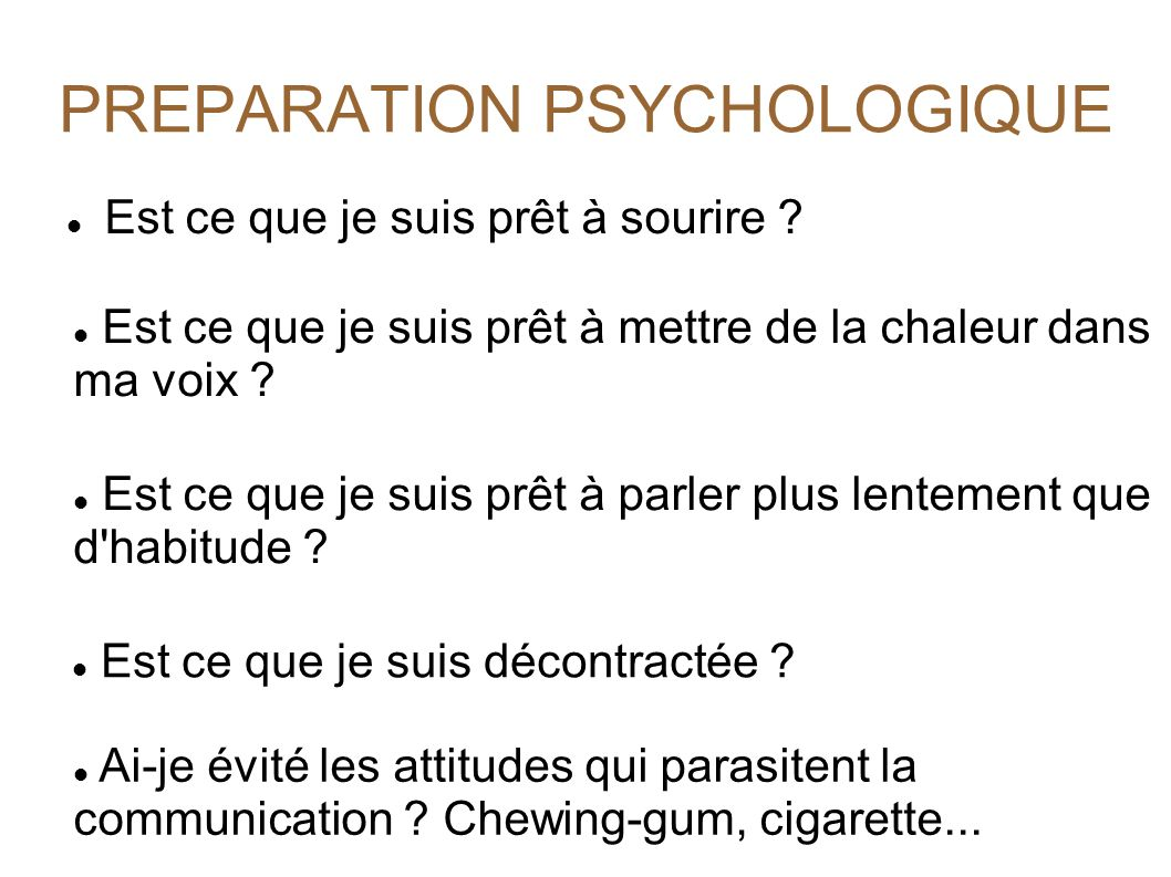PREPARATION PSYCHOLOGIQUE
