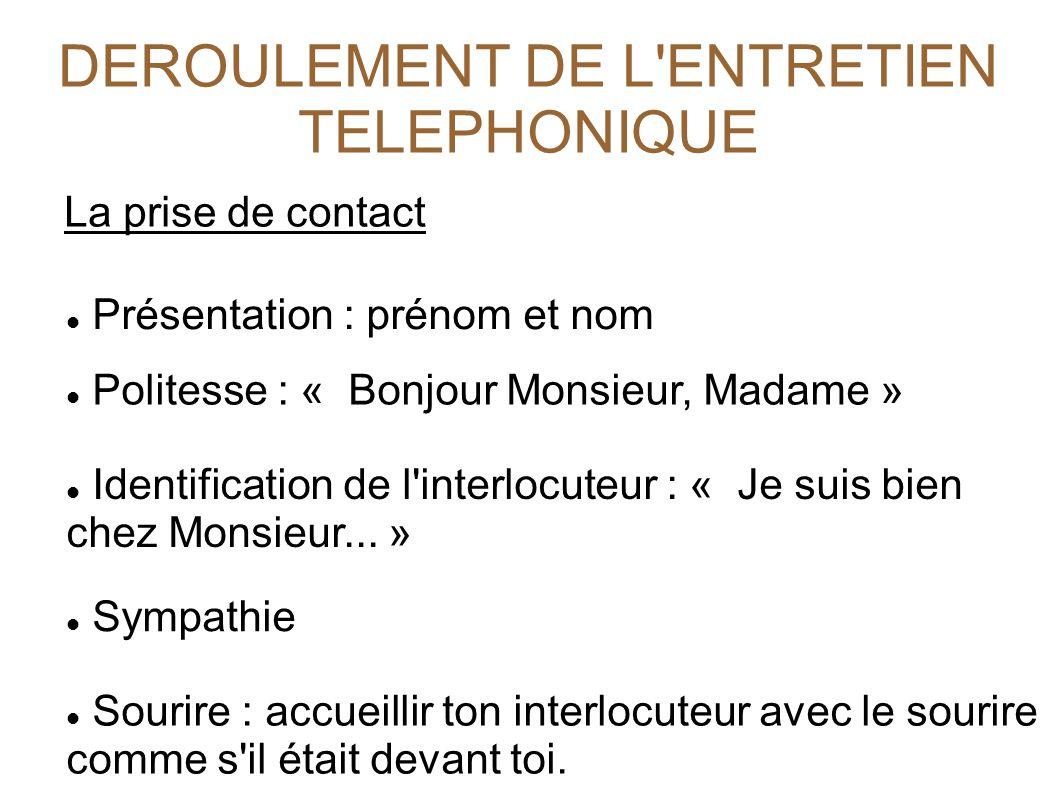 DEROULEMENT DE L ENTRETIEN TELEPHONIQUE