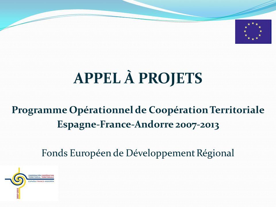 APPEL À PROJETS Programme Opérationnel de Coopération Territoriale