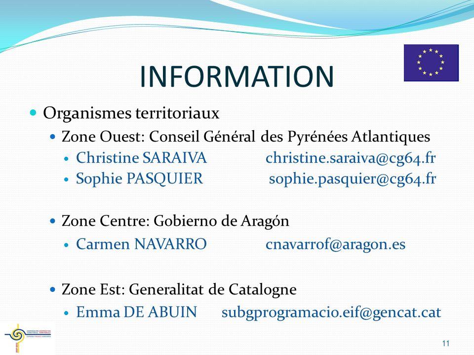 INFORMATION Organismes territoriaux