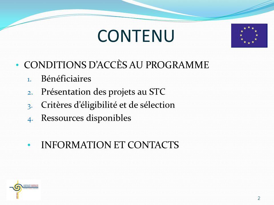 CONTENU CONDITIONS D'ACCÈS AU PROGRAMME INFORMATION ET CONTACTS