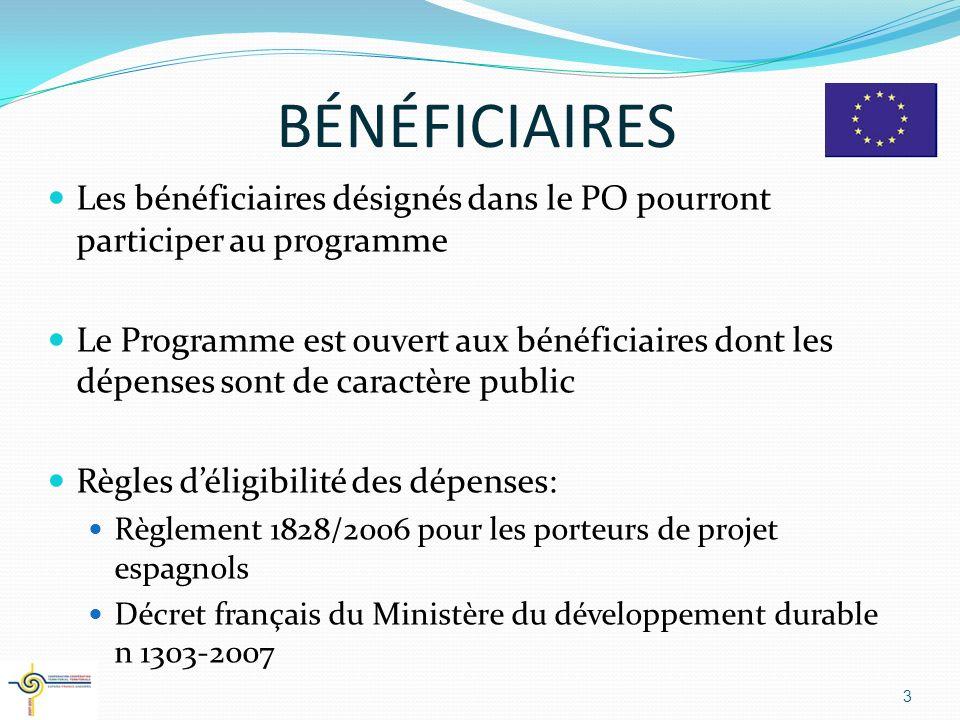 BÉNÉFICIAIRES Les bénéficiaires désignés dans le PO pourront participer au programme.