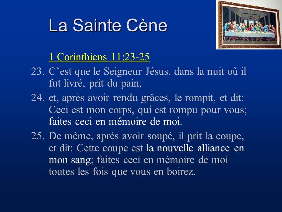 La Sainte Cène 1 Corinthiens 11:23-25