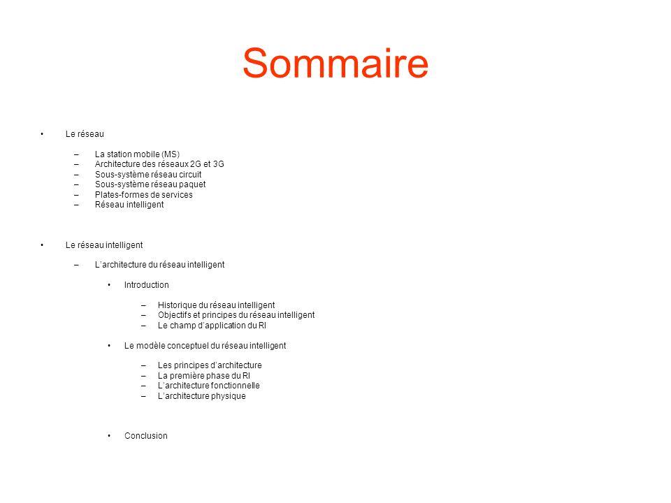 Sommaire Le réseau La station mobile (MS)