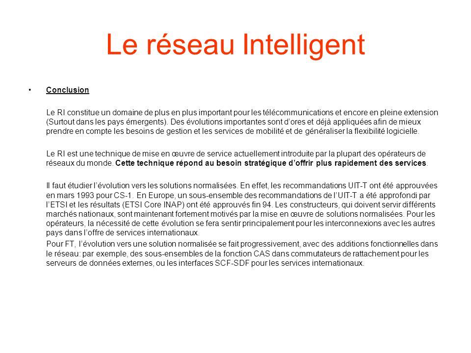 Le réseau Intelligent Conclusion
