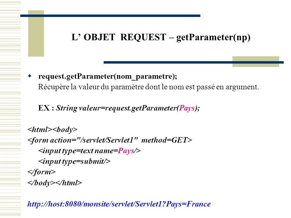 L' OBJET REQUEST – getParameter(np)