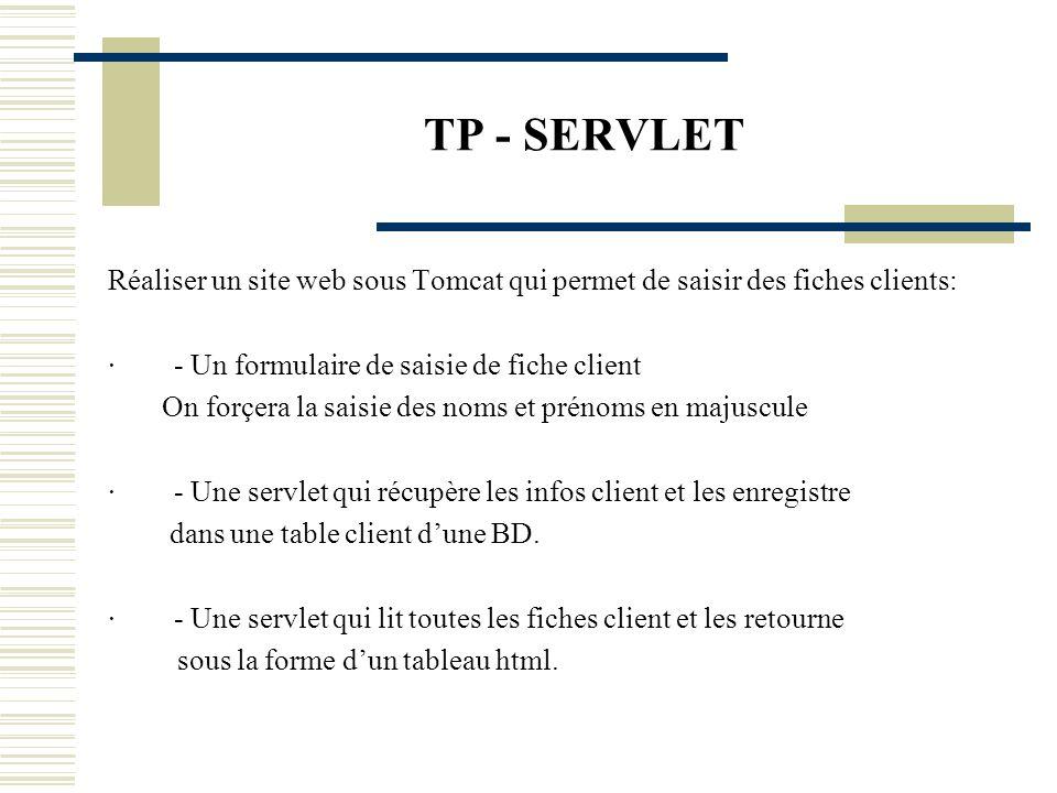 TP - SERVLET Réaliser un site web sous Tomcat qui permet de saisir des fiches clients: · - Un formulaire de saisie de fiche client.
