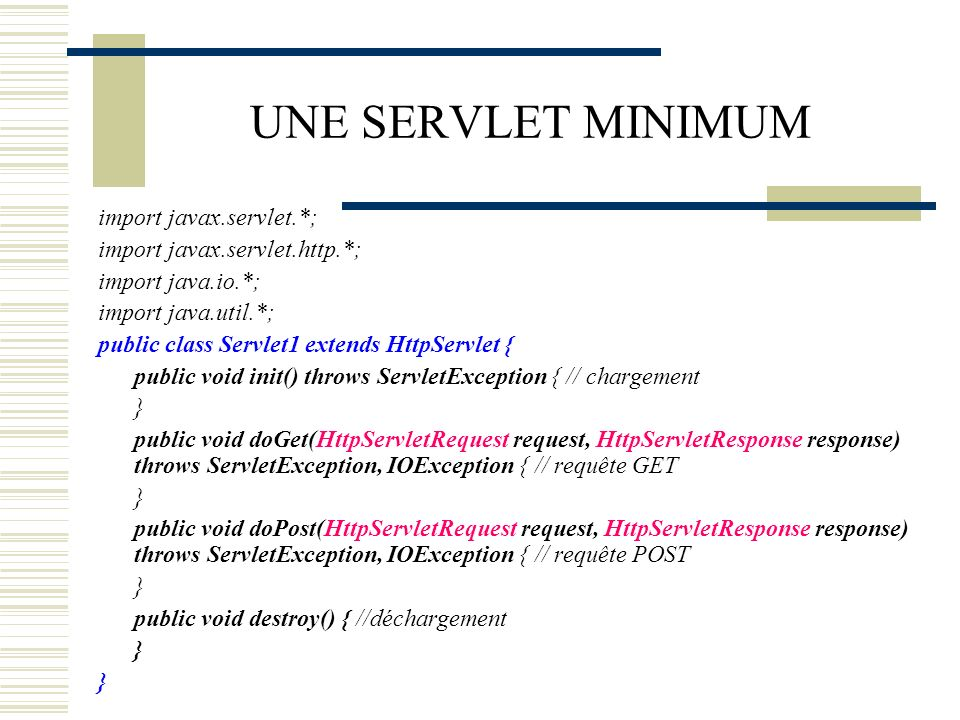 UNE SERVLET MINIMUM import javax.servlet.*;