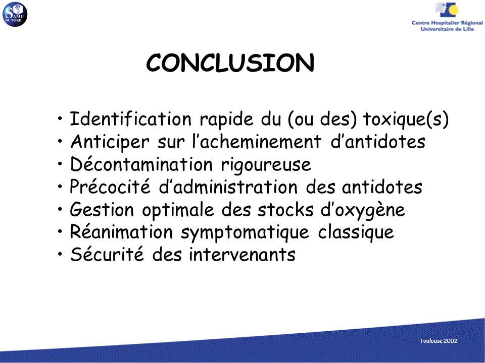CONCLUSION Identification rapide du (ou des) toxique(s)