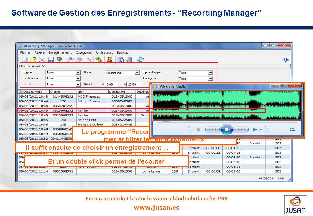 Software de Gestion des Enregistrements - Recording Manager